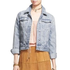 Free People Denim Faded Wash Fitted Jacket Sz S